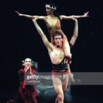 """CA. CoolRiver5.0208.LS. Martha Graham Dance Co. members Katherine Crockett, left, Miki Orihara and Gary Galbraith perform """" Cave of the Heart"""" at the Luckman Theatre in Los Angeles.  (Photo by Luis Sinco/Los Angeles Times via Getty Images)"""
