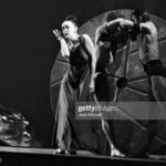 """Modern dancer and choreographer Martha Graham with her company performing the premier of """"A Look at Lightning"""" March 5, 1962.  (Photo by Jack Mitchell/Getty Images)"""