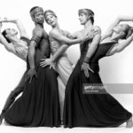 """Martha Graham Company dancers Peggy Lyman, Donlin Foreman, Stephen Rooks, Judith Garay and Joyce Herring performing """"Andromache"""" in May, 1982. (Photo by Jack Mitchell/Getty Images)"""