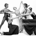 """Martha Graham Company dancers Terese Capucilli, Judith Garay, Jean Louis Morin and Stephen Rooks performing """"Golden Hall"""" in May 1982. (Photo by Jack Mitchell/Getty Images)"""
