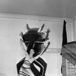 """NEW YORK - DECEMBER 30, 1947:  Famed dancer/choreographer Martha Graham (of whose work only a scant photographic record exists) rehearses her """"Errand of the Maze"""" dance with an unnamed male dancer (probably Erick Hawkins) on December 30, 1947, in New York, New York. """"Errand of the Maze"""" told the Greek myth of Ariadne and the Minotaur in the labyrinth in the palace of King Minos in Knossos on the island of Crete.  (Photo by Michael Ochs Archives/Getty Images)"""