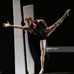 """Maurizio Nardi of the Martha Graham Dance Company performs a scene from """"Clytemnestra"""" during a dress rehearsal before opening night on May 12, 2009 at the Skirball Center for the Performing Arts in New York. The dance company is celebrating its 50th anniversary.      AFP PHOTO/TIMOTHY A. CLARY (Photo credit should read TIMOTHY A. CLARY/AFP via Getty Images)"""